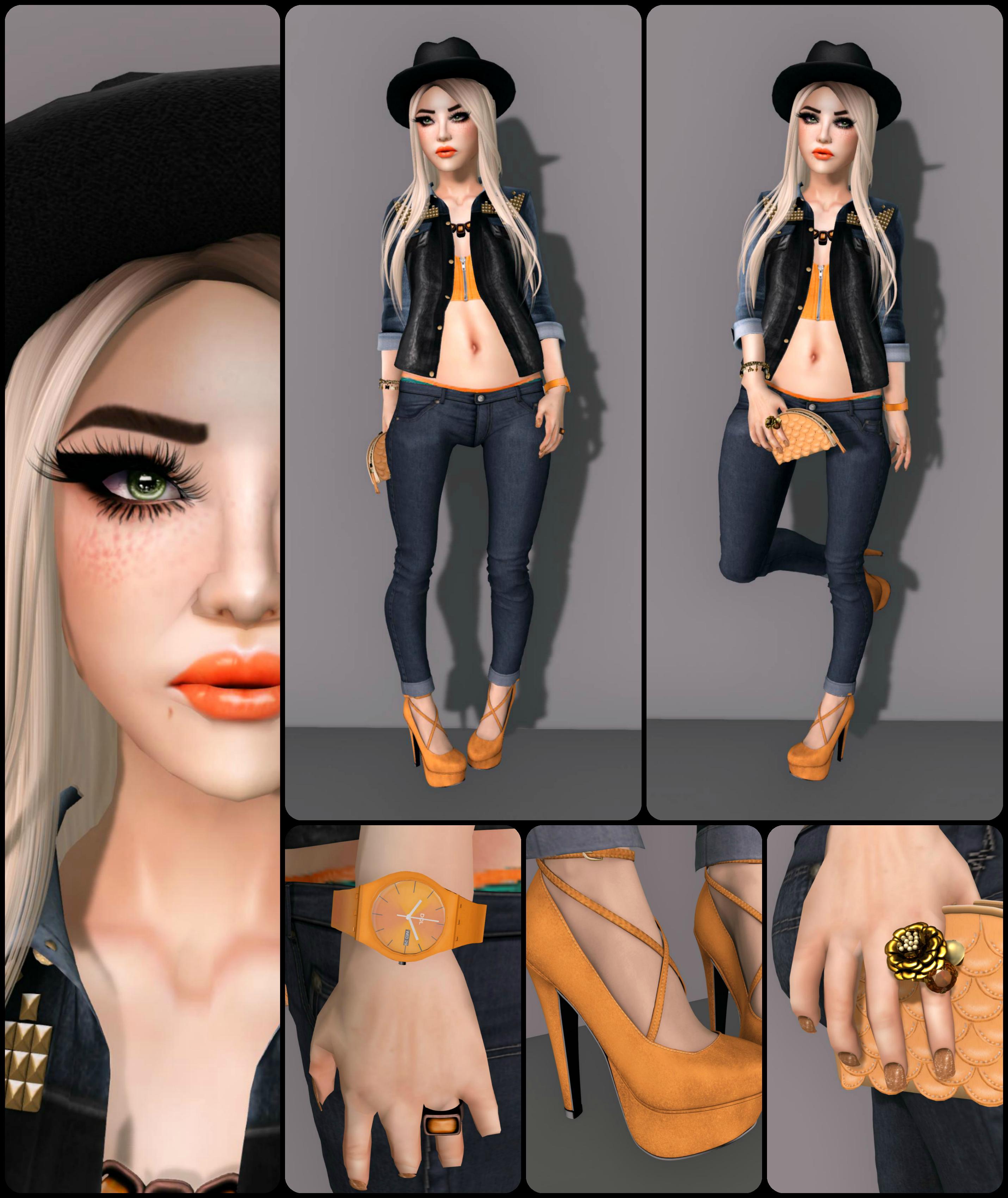 0744dcd29e Iya Bustier – Tangerine Jeans – . villena . – skinny jeans DarkBlue. Hat –  -Entente- Odilon Fedora Shoes –  DDL  I Told You So (Orange)
